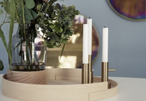 Jamie Hayon Vase und Kerzenständer Holztablett WednesdayArchitecture