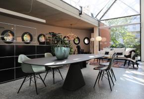 Bridge Tisch Studio by Mobimex Jehs + Laub Designer Esstisch Beton Massivholz geräucherte Eiche